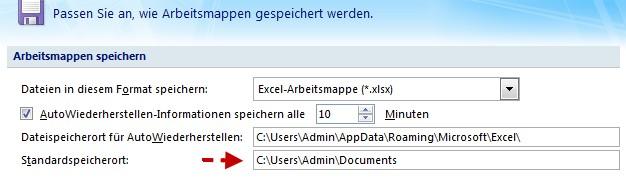 Excel Standardspeicherort