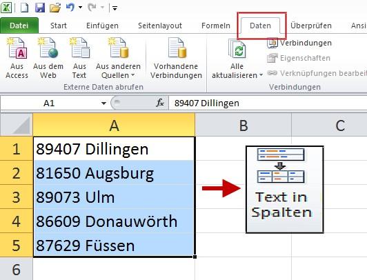 Excel Text In Spalten Aufteilen Edv Portal